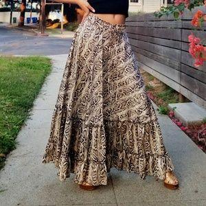 Animal Print Ruffle Maxi Skirt